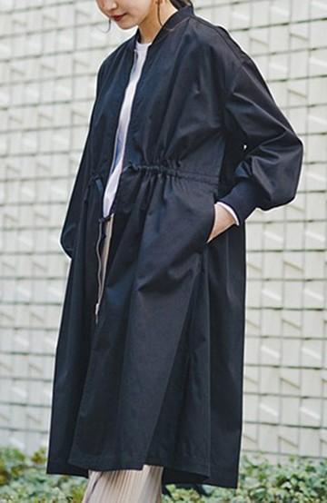 haco! 【洗濯機洗い可】女っぽいけど甘すぎない さっと羽織ってかっこよくキマる絶妙バランスが使いやすいテントラインロングブルゾン <ブラック>の商品写真