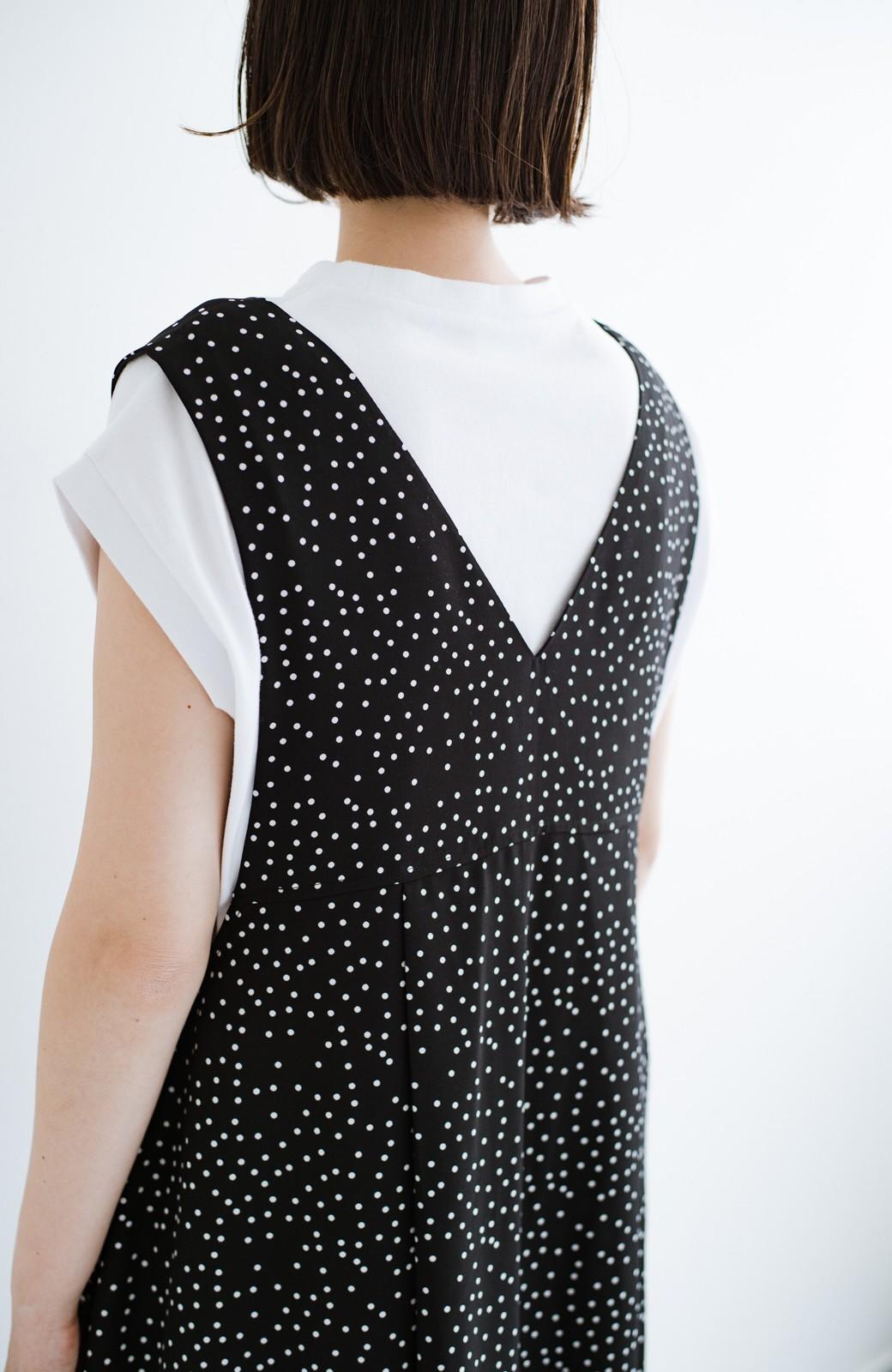 haco! 軽やか素材のドット柄登場!Tシャツにもニットにもずーーーっと着られて便利なジャンパースカート <ブラック系その他>の商品写真8