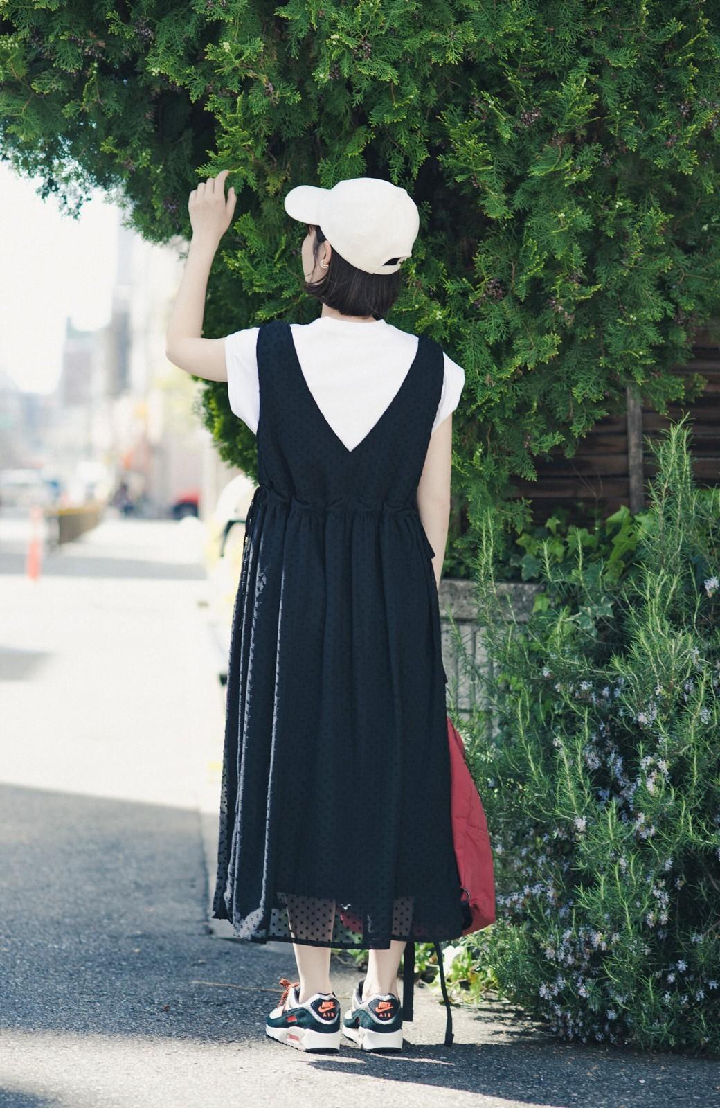 haco! (φ)普段にもちょっとしたきちんとシーンにも!着まわし上手になれるドビードットジャンパースカート <ブラック>の商品写真14