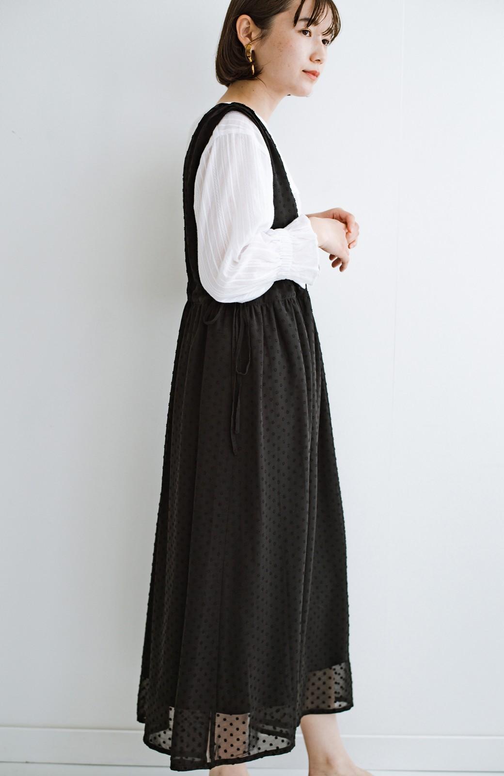 haco! (φ)普段にもちょっとしたきちんとシーンにも!着まわし上手になれるドビードットジャンパースカート <ブラック>の商品写真24