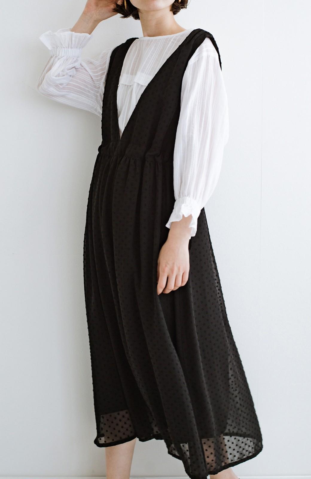 haco! (φ)普段にもちょっとしたきちんとシーンにも!着まわし上手になれるドビードットジャンパースカート <ブラック>の商品写真6