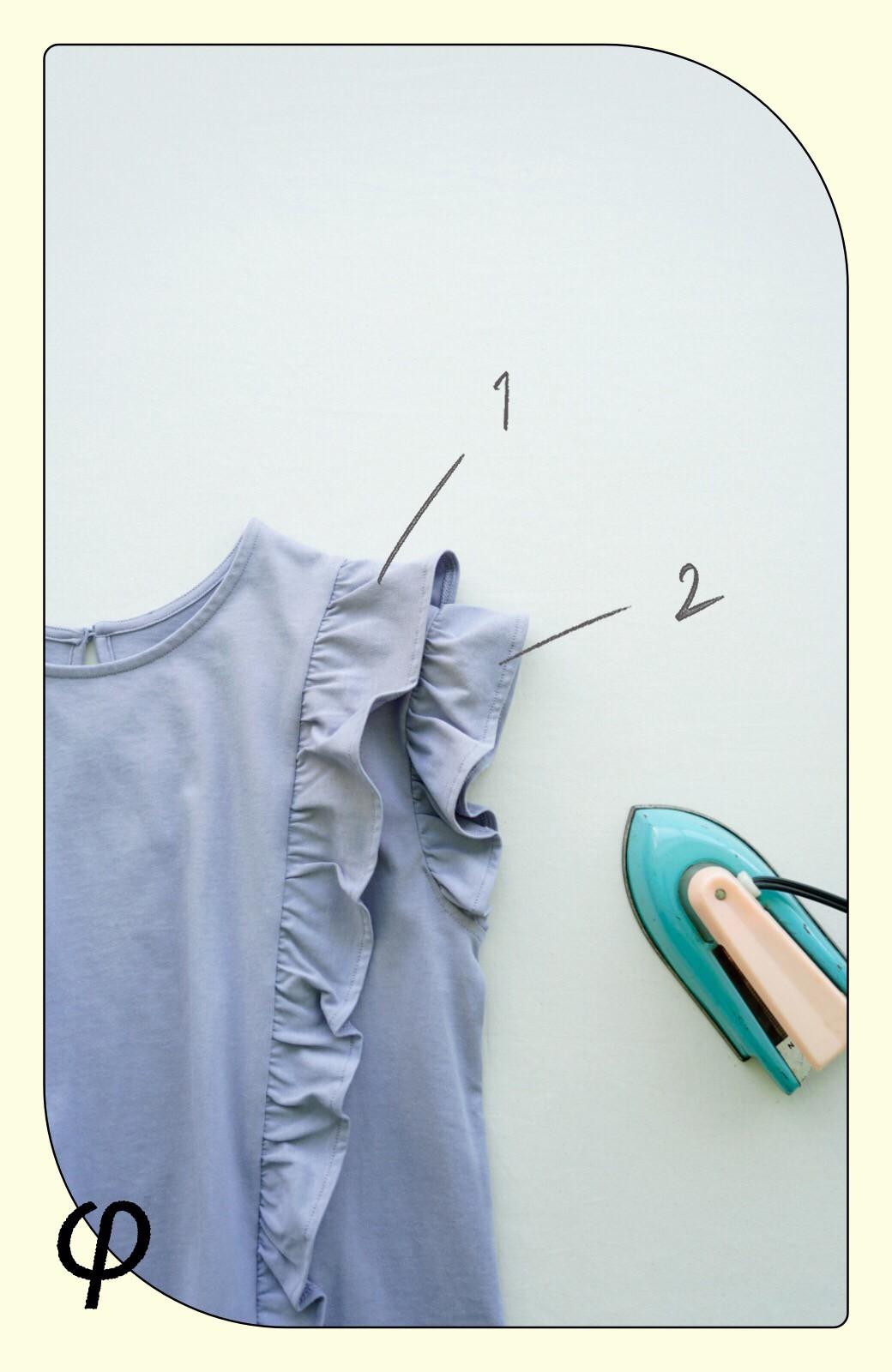 haco! (φ)顔周りぱっと華やか!Tシャツ感覚で着られて便利なフリルカットソートップス <ラベンダー>の商品写真4