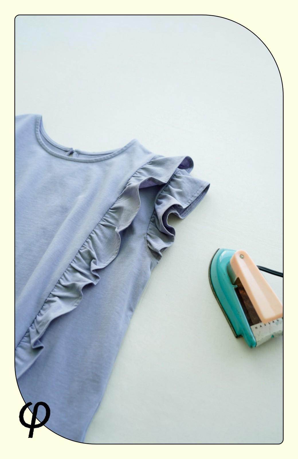 haco! (φ)顔周りぱっと華やか!Tシャツ感覚で着られて便利なフリルカットソートップス <ラベンダー>の商品写真5