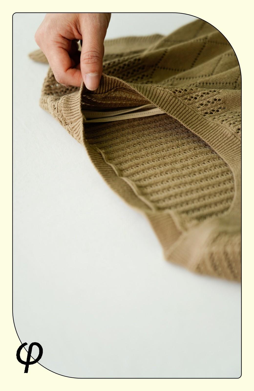 haco! (φ)透けすぎないから安心して着られる 華やか透かし編みニットトップス <ブラック>の商品写真4