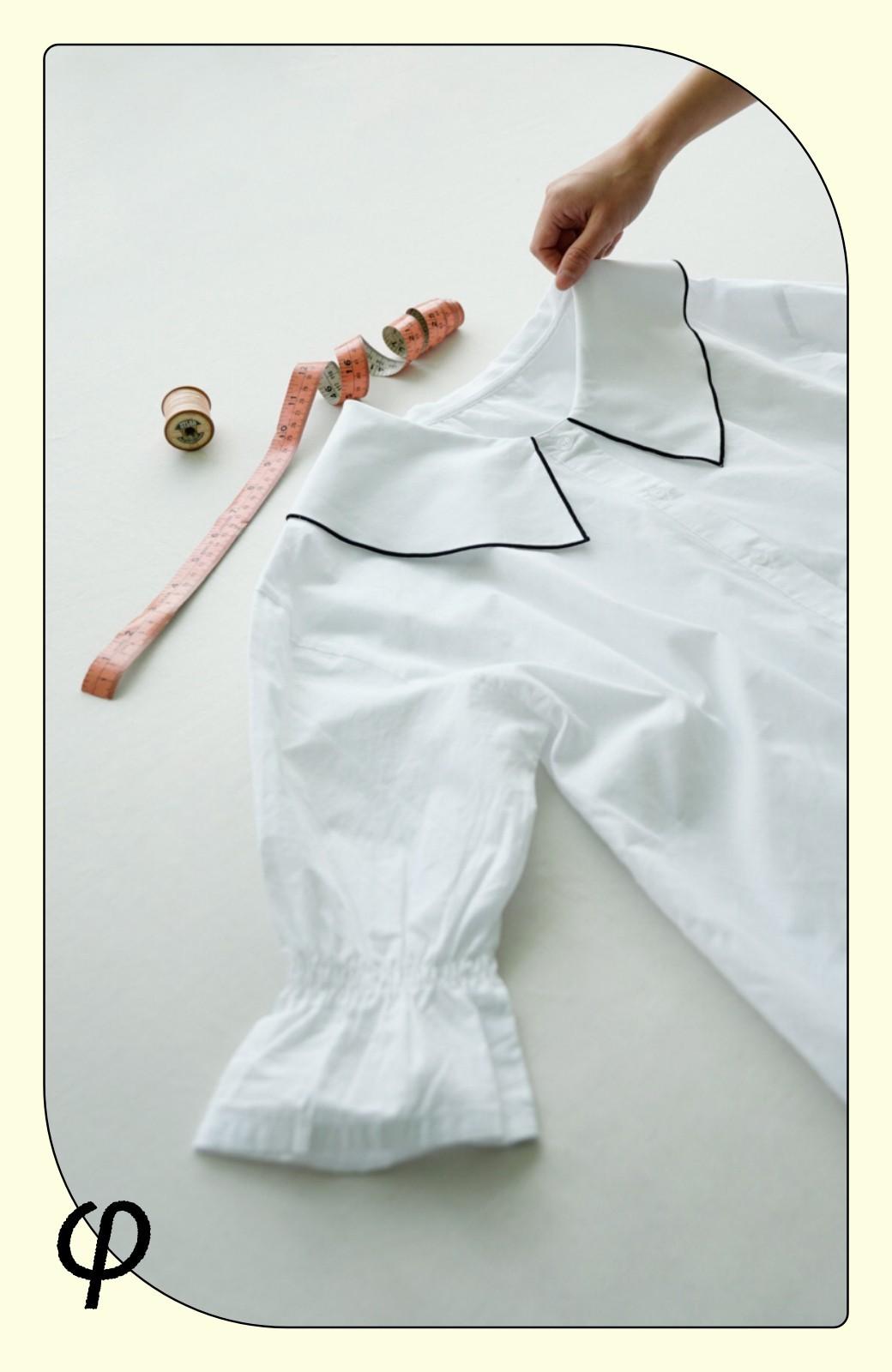 haco! (φ)甘さ控えめで照れずに着られる 今っぽおしゃれなビッグカラーブラウス <ホワイト>の商品写真2