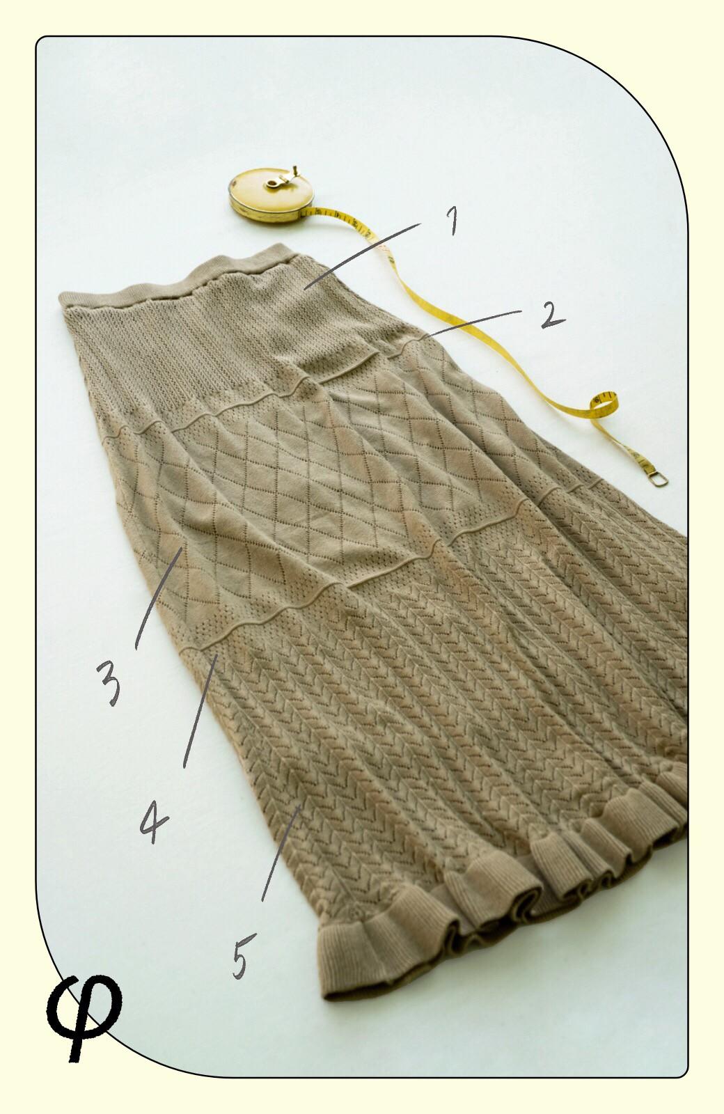 haco! (φ)Tシャツにもスウェットにも!裏地付きで長く着られる透かし編みニットスカート <カーキブラウン>の商品写真2