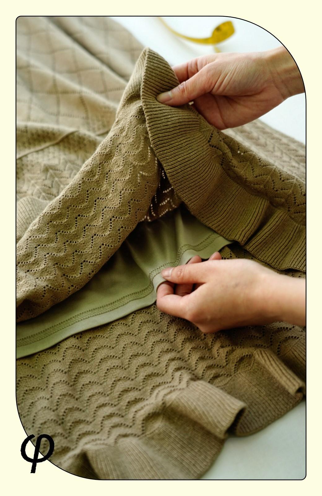 haco! (φ)Tシャツにもスウェットにも!裏地付きで長く着られる透かし編みニットスカート <カーキブラウン>の商品写真4