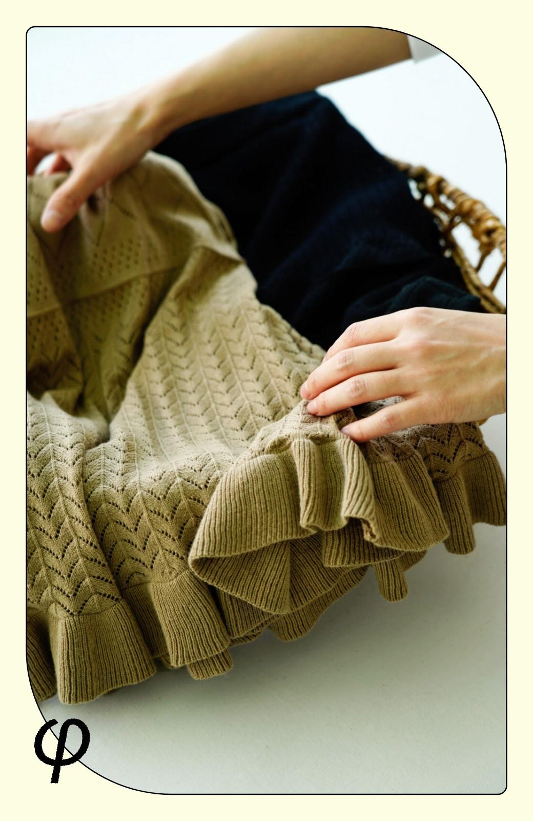 haco! (φ)Tシャツにもスウェットにも!裏地付きで長く着られる透かし編みニットスカート <ブラック>の商品写真3
