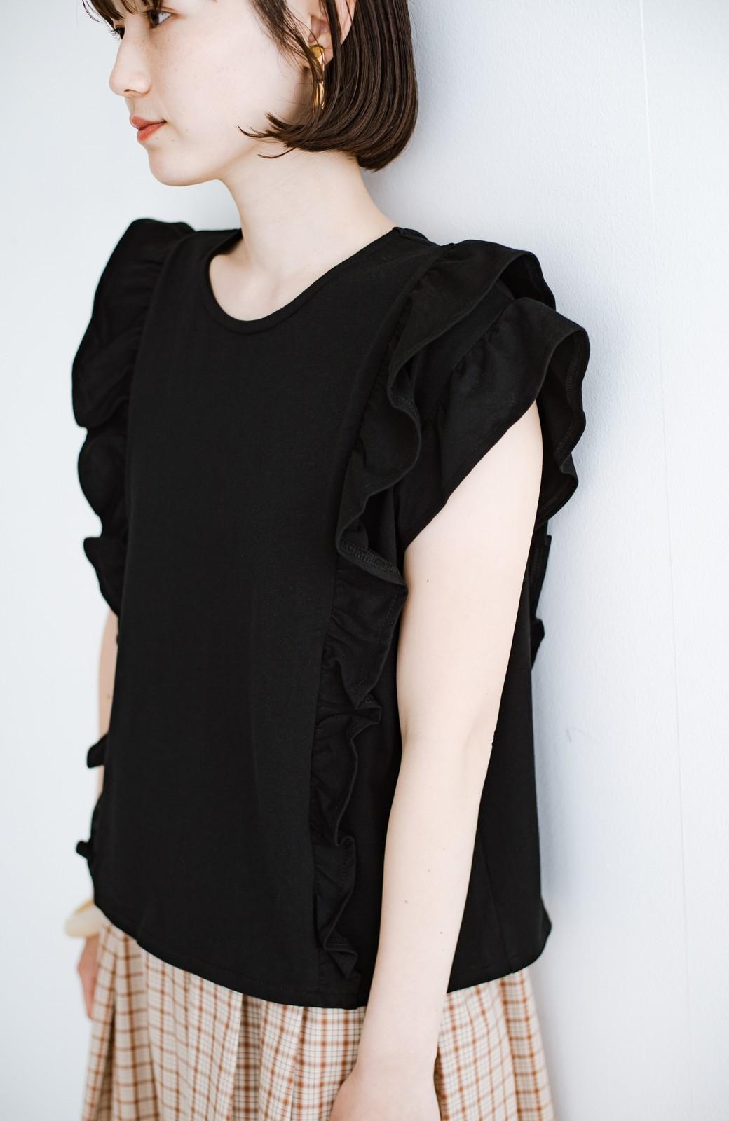 haco! (φ)顔周りぱっと華やか!Tシャツ感覚で着られて便利なフリルカットソートップス <ブラック>の商品写真21