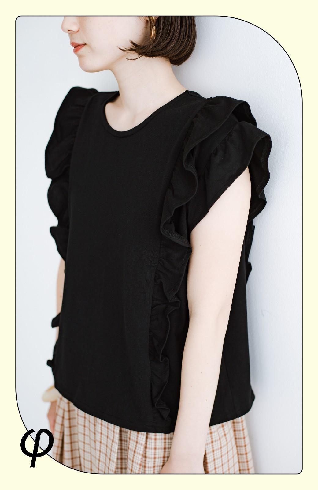 haco! (φ)顔周りぱっと華やか!Tシャツ感覚で着られて便利なフリルカットソートップス <ブラック>の商品写真1