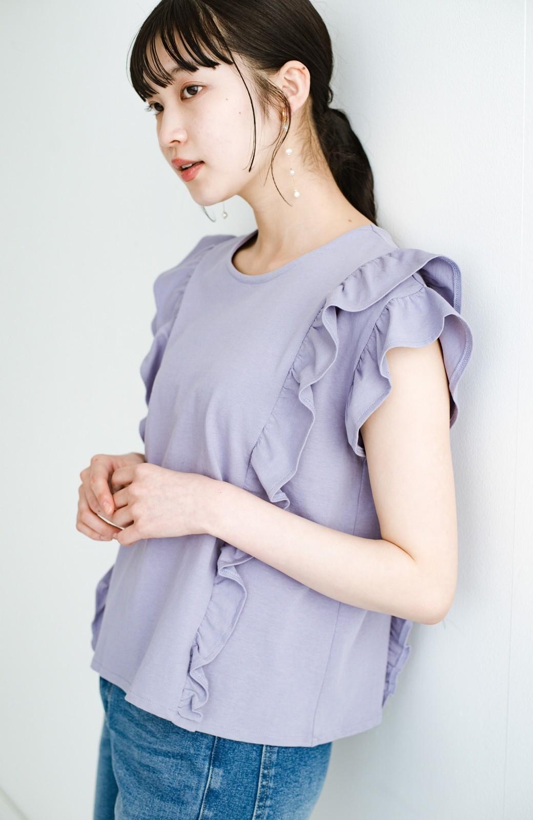 haco! (φ)顔周りぱっと華やか!Tシャツ感覚で着られて便利なフリルカットソートップス <ラベンダー>の商品写真19