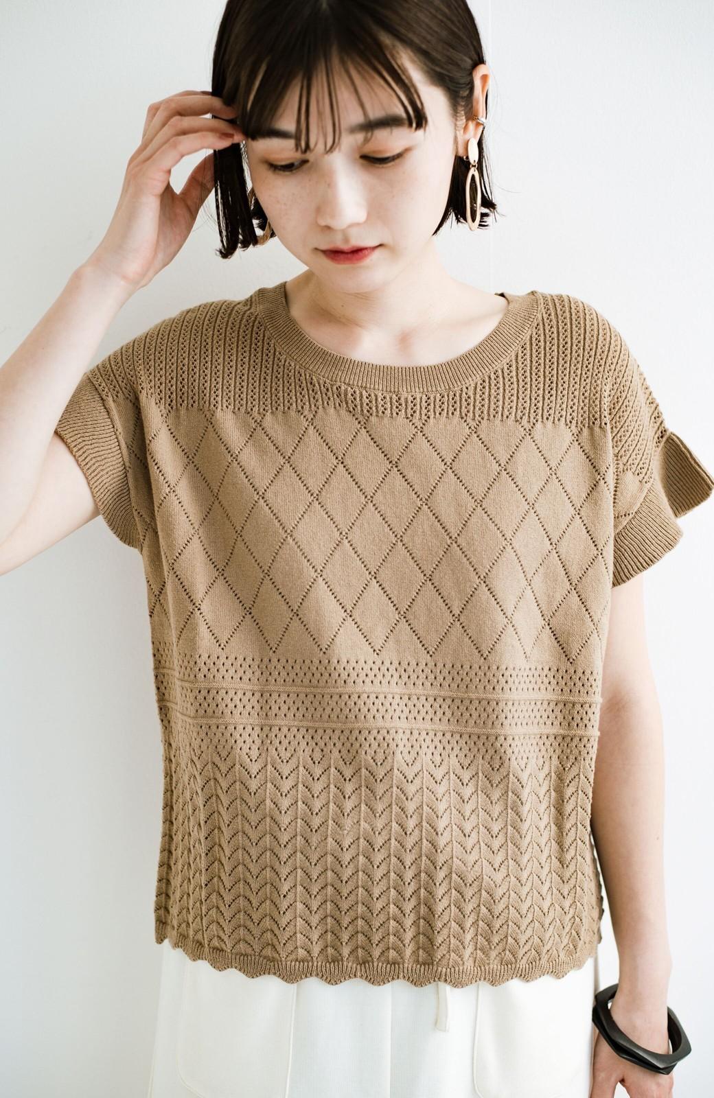 haco! (φ)透けすぎないから安心して着られる 華やか透かし編みニットトップス <カーキブラウン>の商品写真26