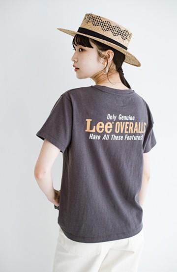 haco! LadyLee 古着のような風合いがかっこいい デニムにもスカートにも似合うロゴプリントTシャツ <ブラック>の商品写真
