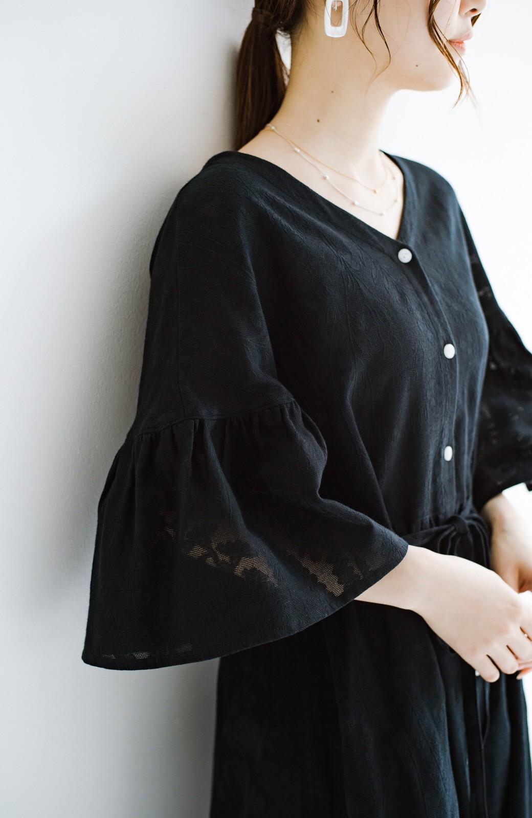 haco! 京都の浴衣屋さんと作った浴衣生地の羽織りにもなるワンピース <ブラック>の商品写真8