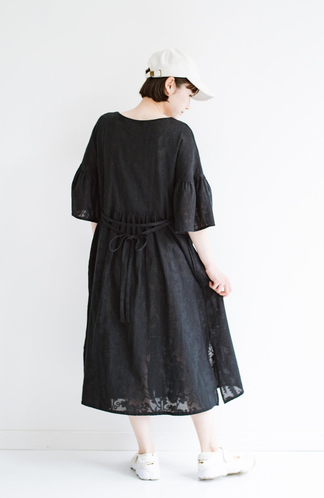 haco! 京都の浴衣屋さんと作った浴衣生地の羽織りにもなるワンピース <ブラック>の商品写真27