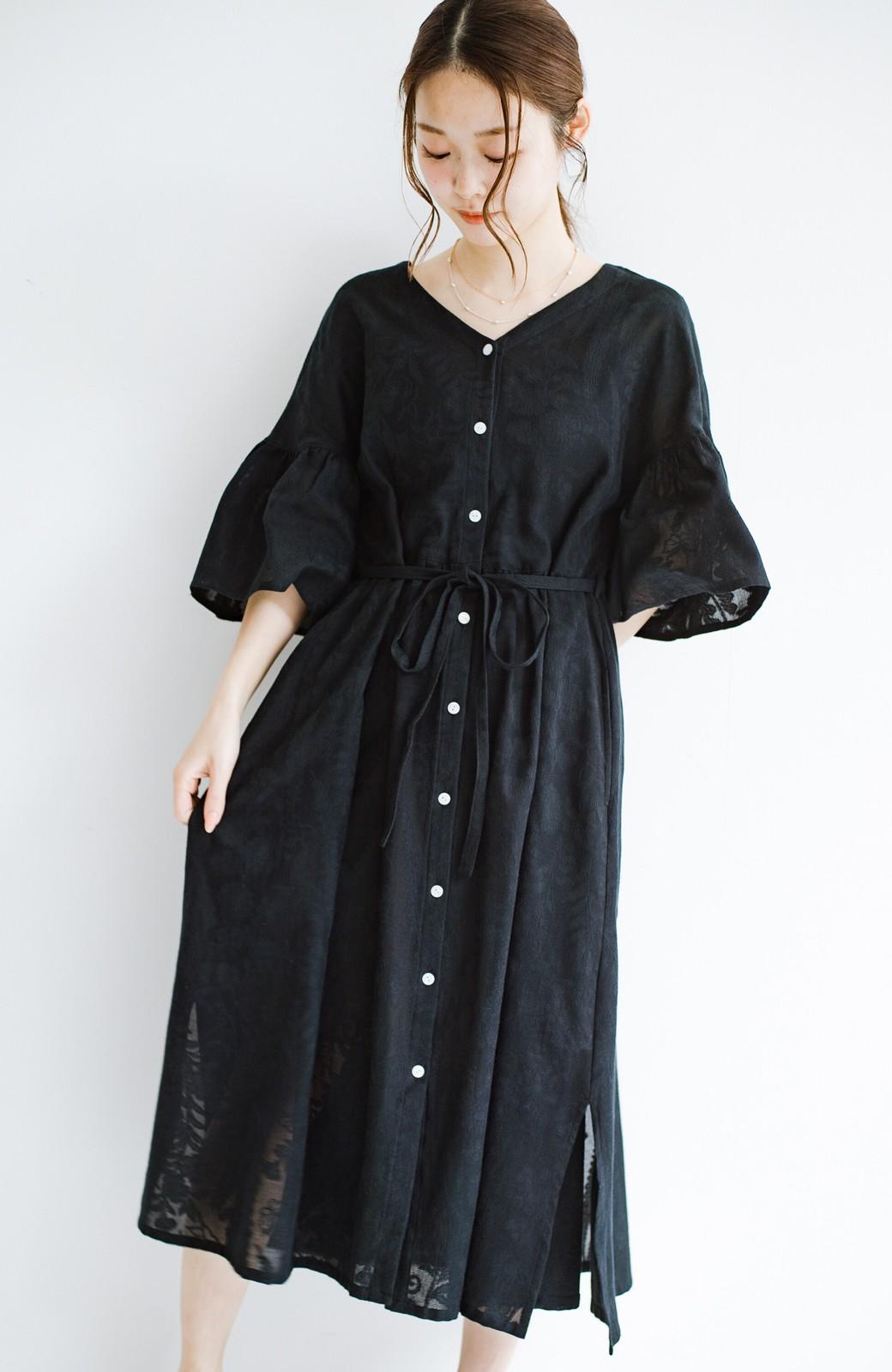 haco! 京都の浴衣屋さんと作った浴衣生地の羽織りにもなるワンピース <ブラック>の商品写真1