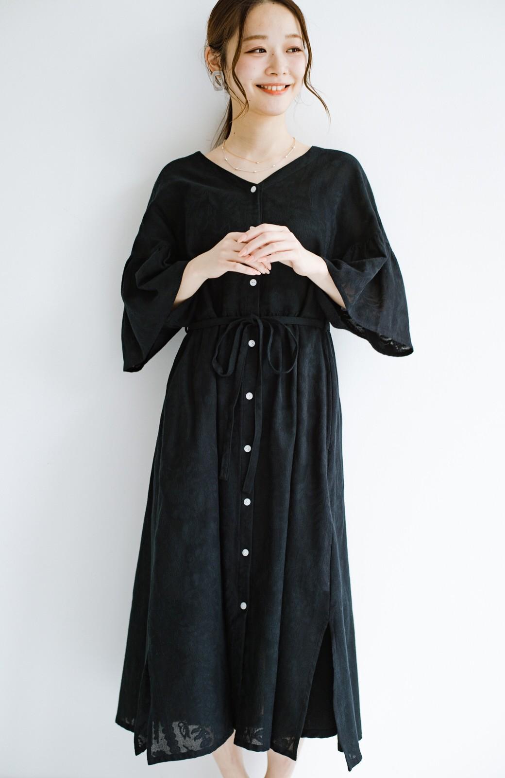 haco! 京都の浴衣屋さんと作った浴衣生地の羽織りにもなるワンピース <ブラック>の商品写真2