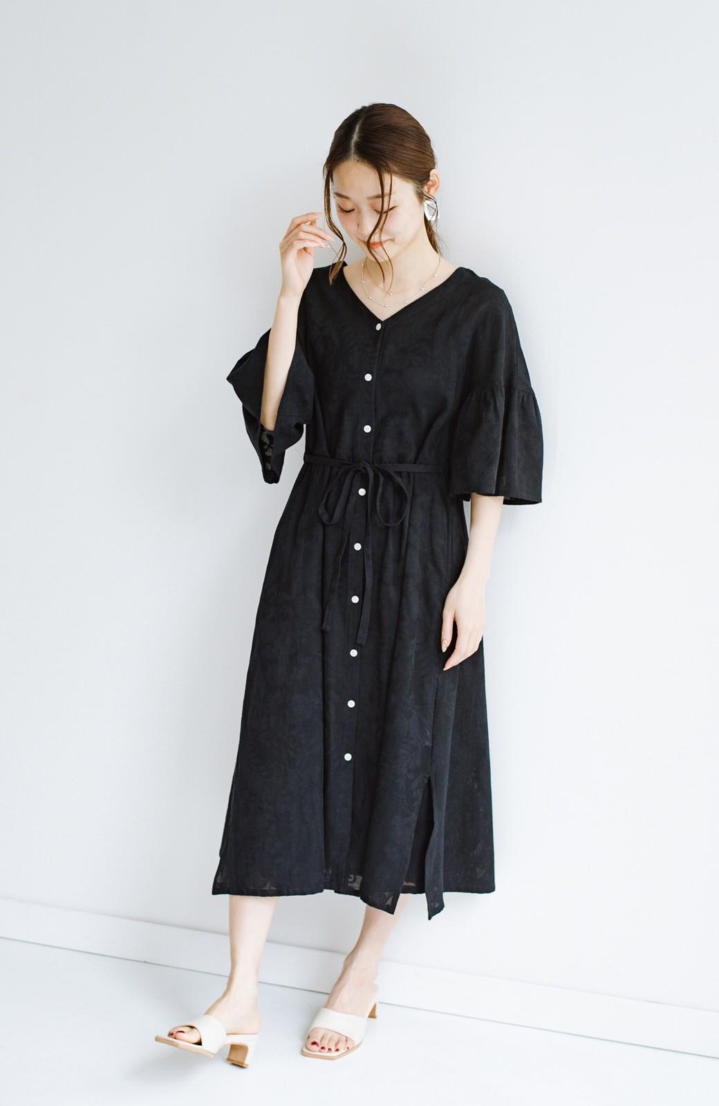 haco! 京都の浴衣屋さんと作った浴衣生地の羽織りにもなるワンピース <ブラック>の商品写真16