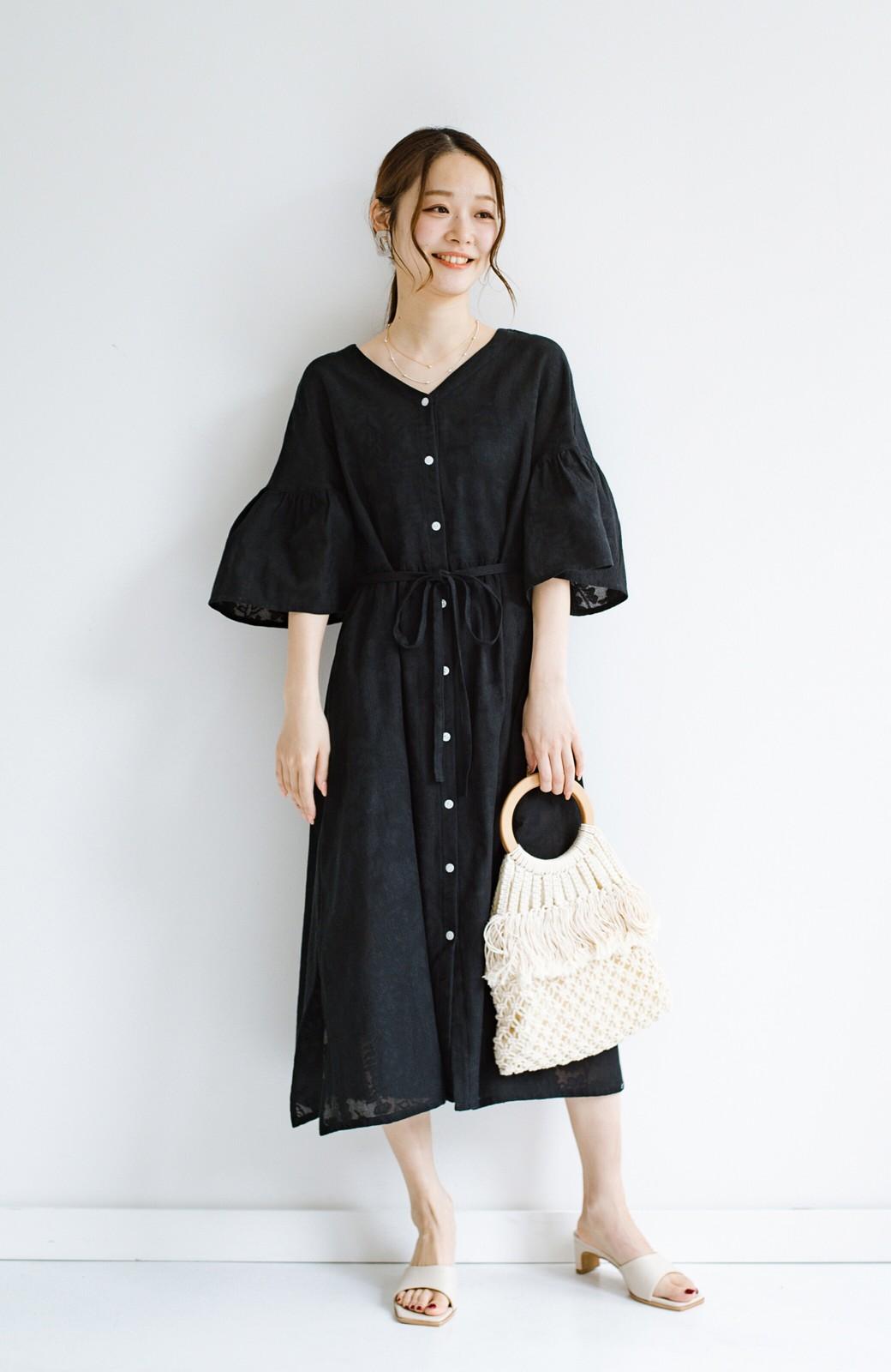 haco! 京都の浴衣屋さんと作った浴衣生地の羽織りにもなるワンピース <ブラック>の商品写真17