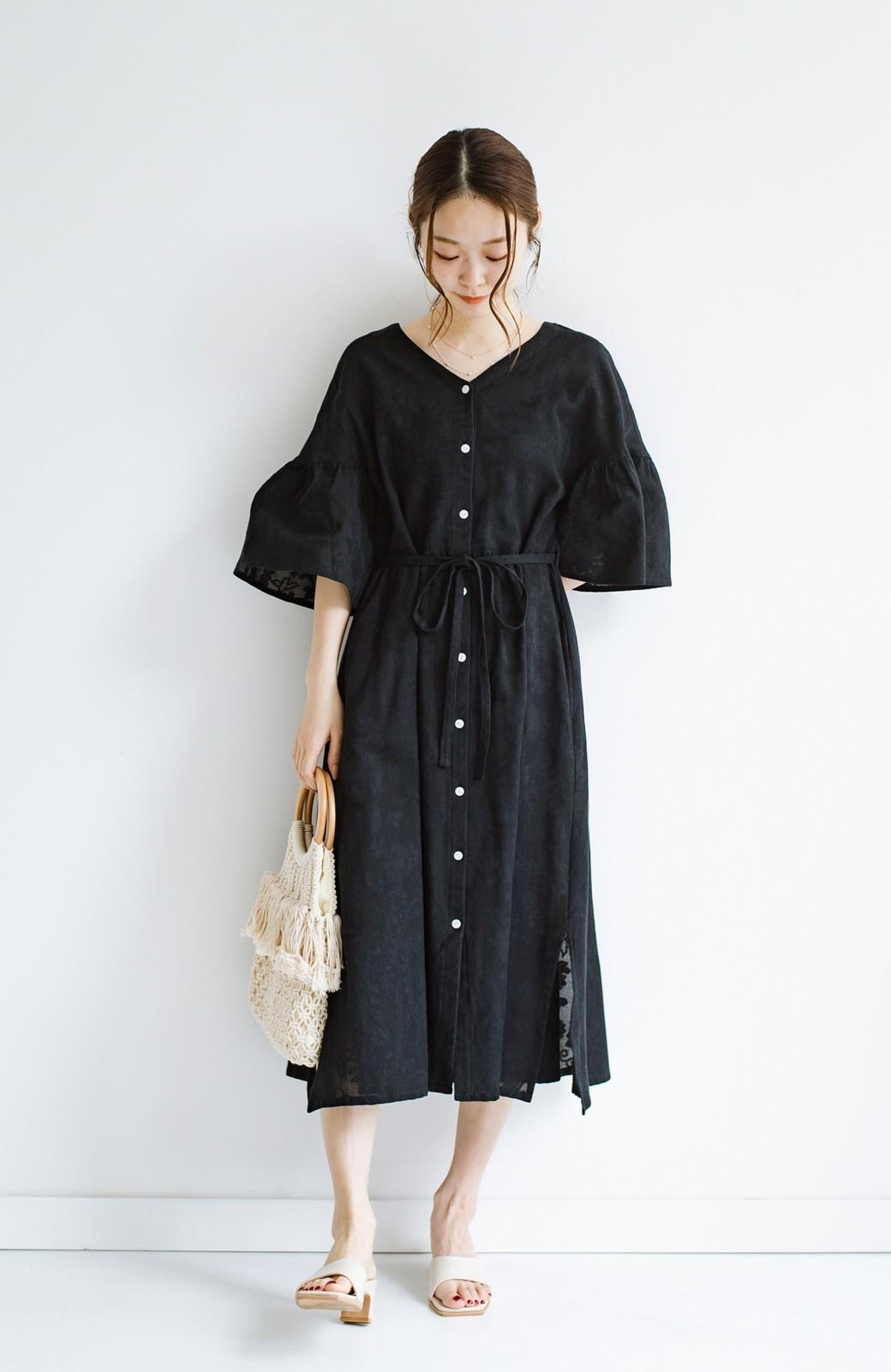 haco! 京都の浴衣屋さんと作った浴衣生地の羽織りにもなるワンピース <ブラック>の商品写真18