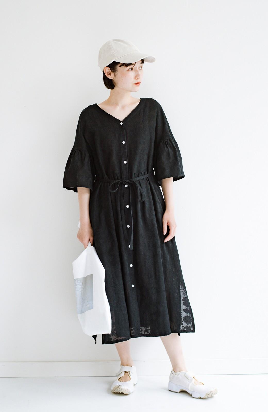 haco! 京都の浴衣屋さんと作った浴衣生地の羽織りにもなるワンピース <ブラック>の商品写真19