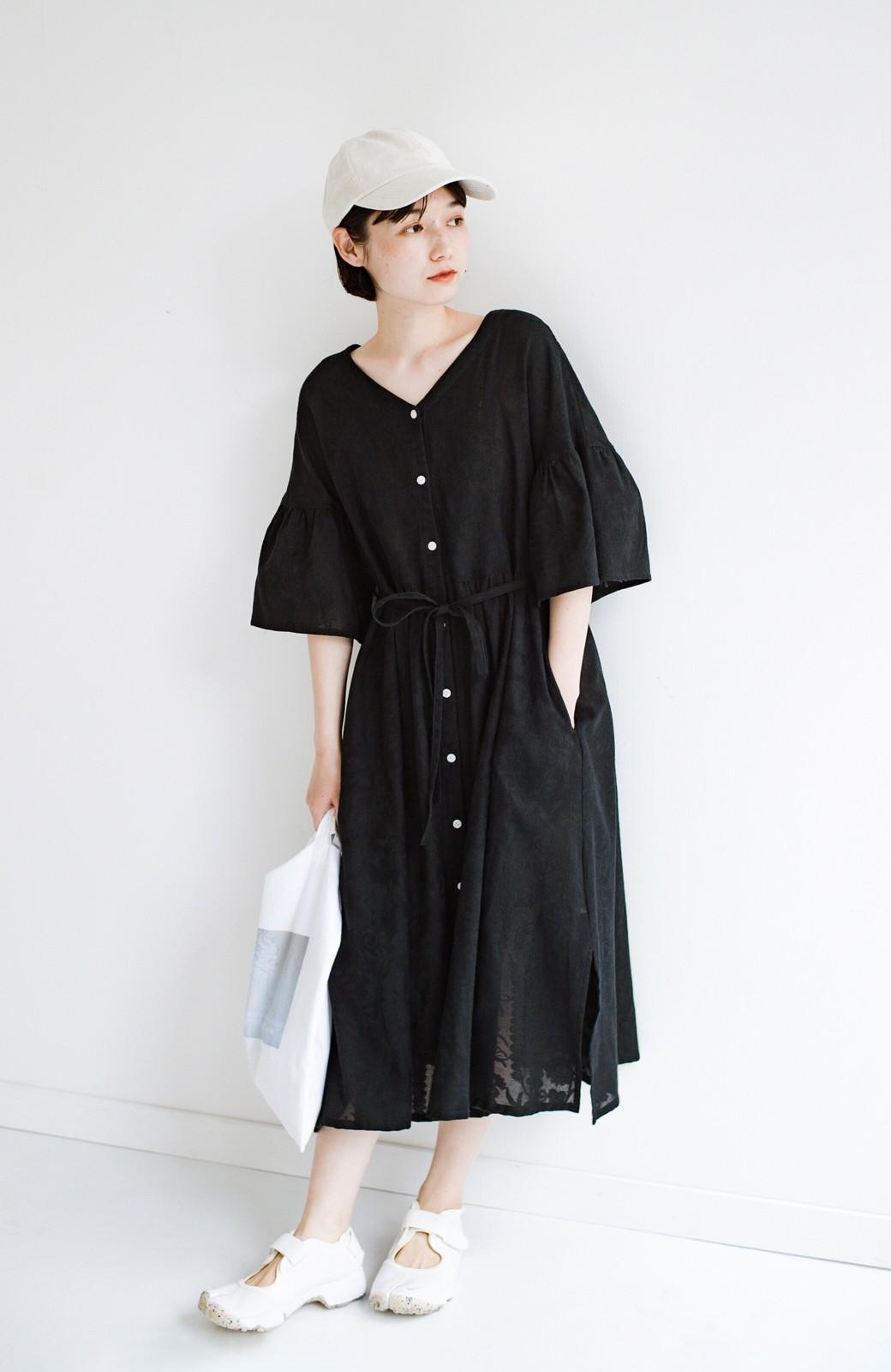 haco! 京都の浴衣屋さんと作った浴衣生地の羽織りにもなるワンピース <ブラック>の商品写真5