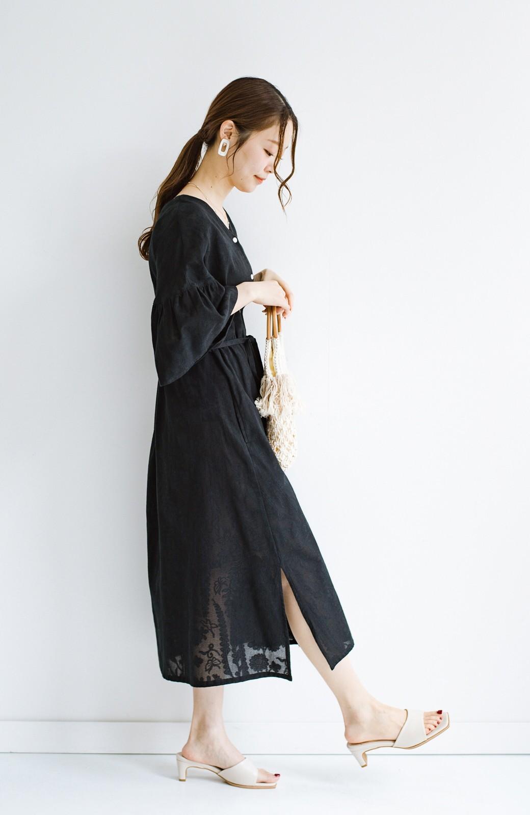 haco! 京都の浴衣屋さんと作った浴衣生地の羽織りにもなるワンピース <ブラック>の商品写真23