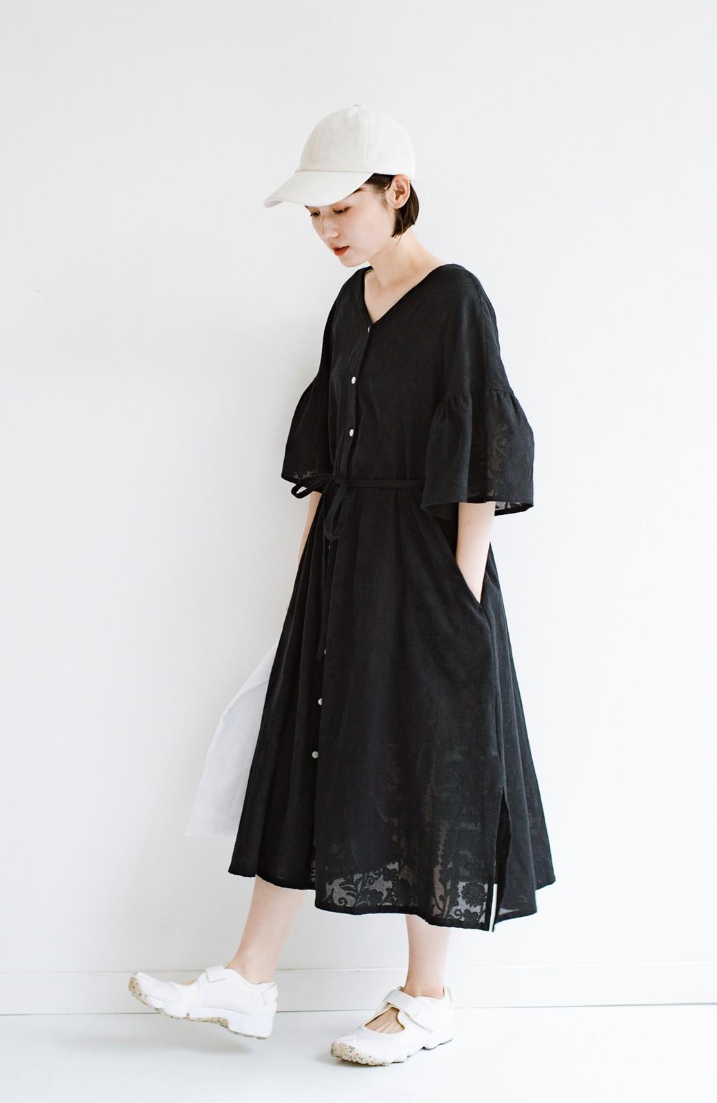 haco! 京都の浴衣屋さんと作った浴衣生地の羽織りにもなるワンピース <ブラック>の商品写真24
