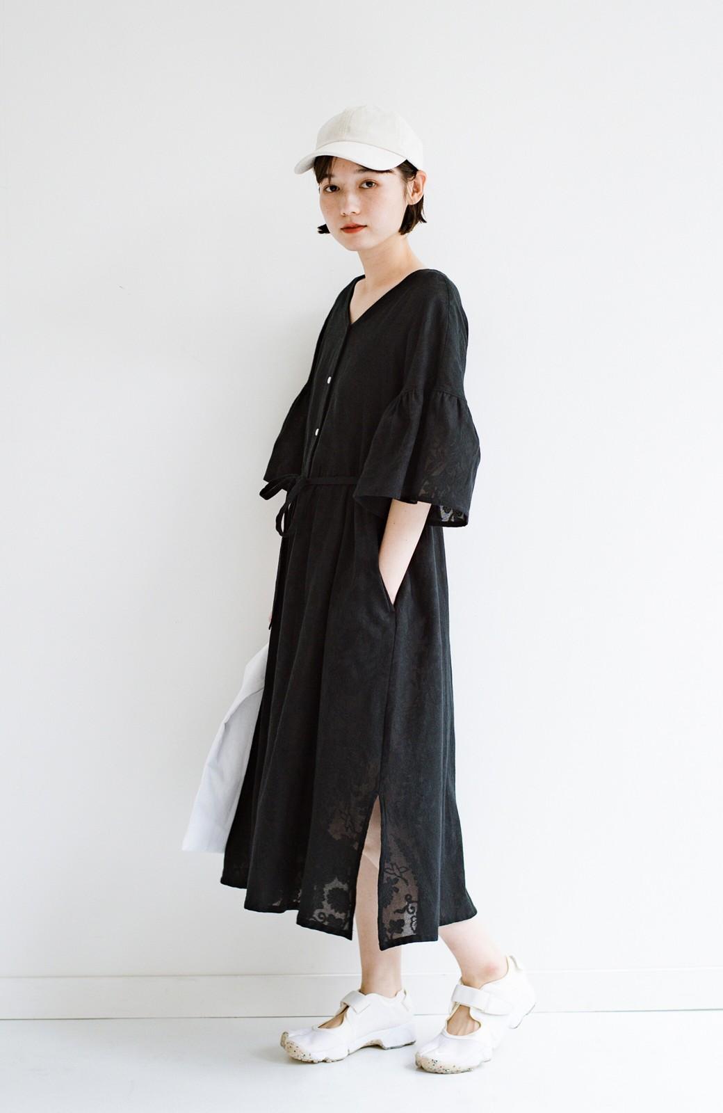 haco! 京都の浴衣屋さんと作った浴衣生地の羽織りにもなるワンピース <ブラック>の商品写真25