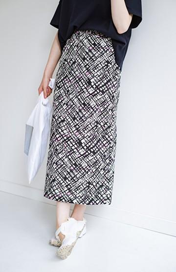 haco! 京都の浴衣屋さんと作った浴衣生地のセミタイトスカート <ブラック系その他>の商品写真