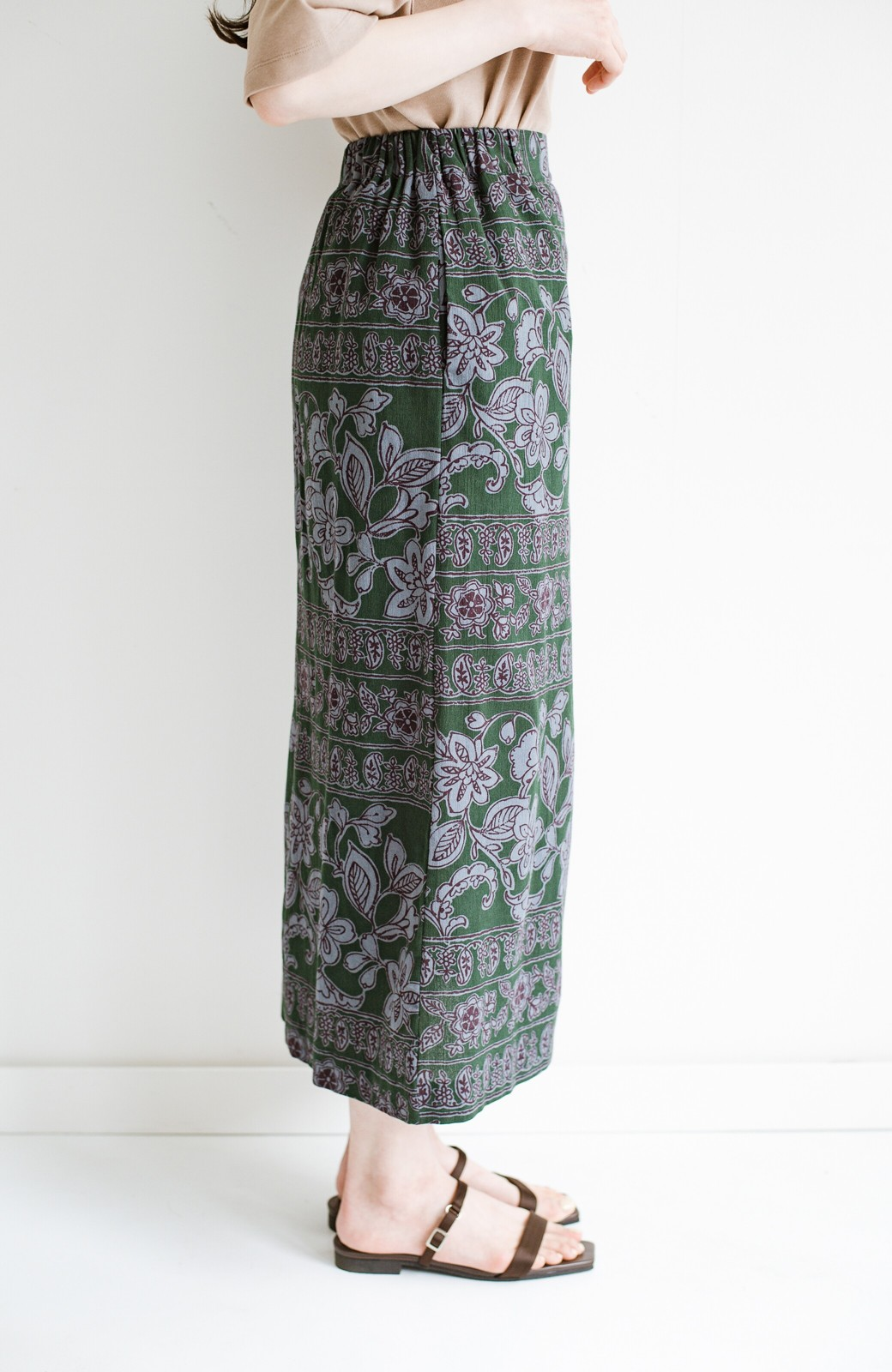 haco! 京都の浴衣屋さんと作った浴衣生地のセミタイトスカート <グリーン系その他>の商品写真6
