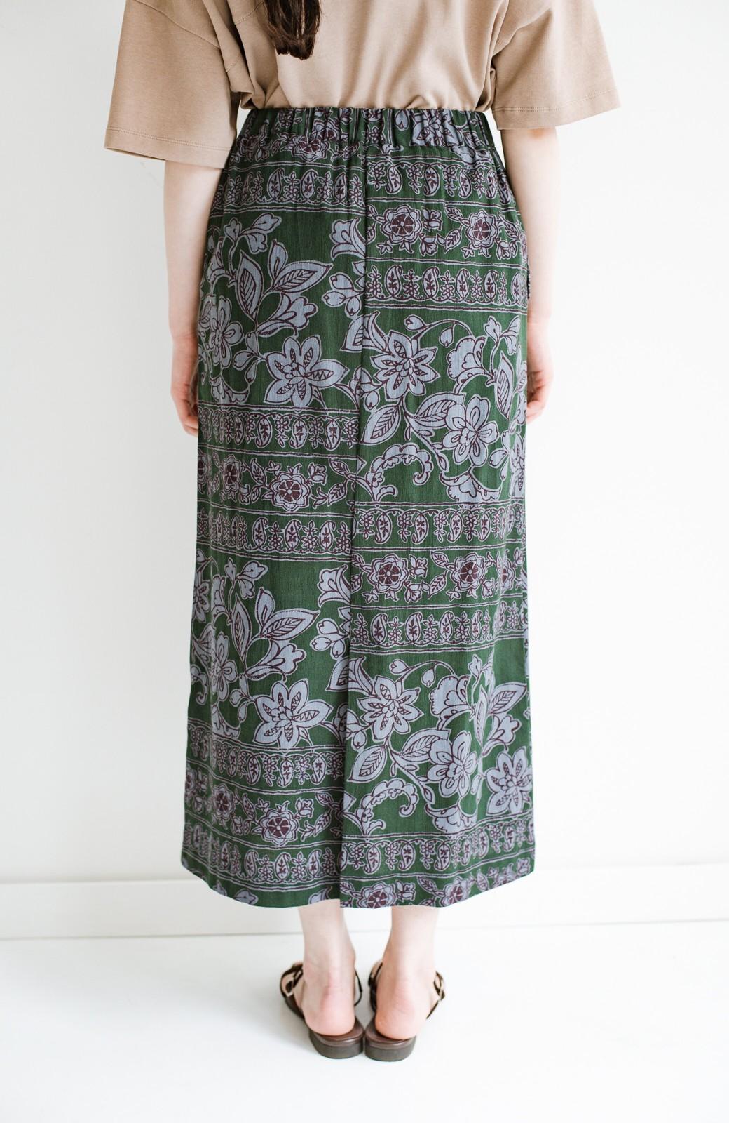 haco! 京都の浴衣屋さんと作った浴衣生地のセミタイトスカート <グリーン系その他>の商品写真7