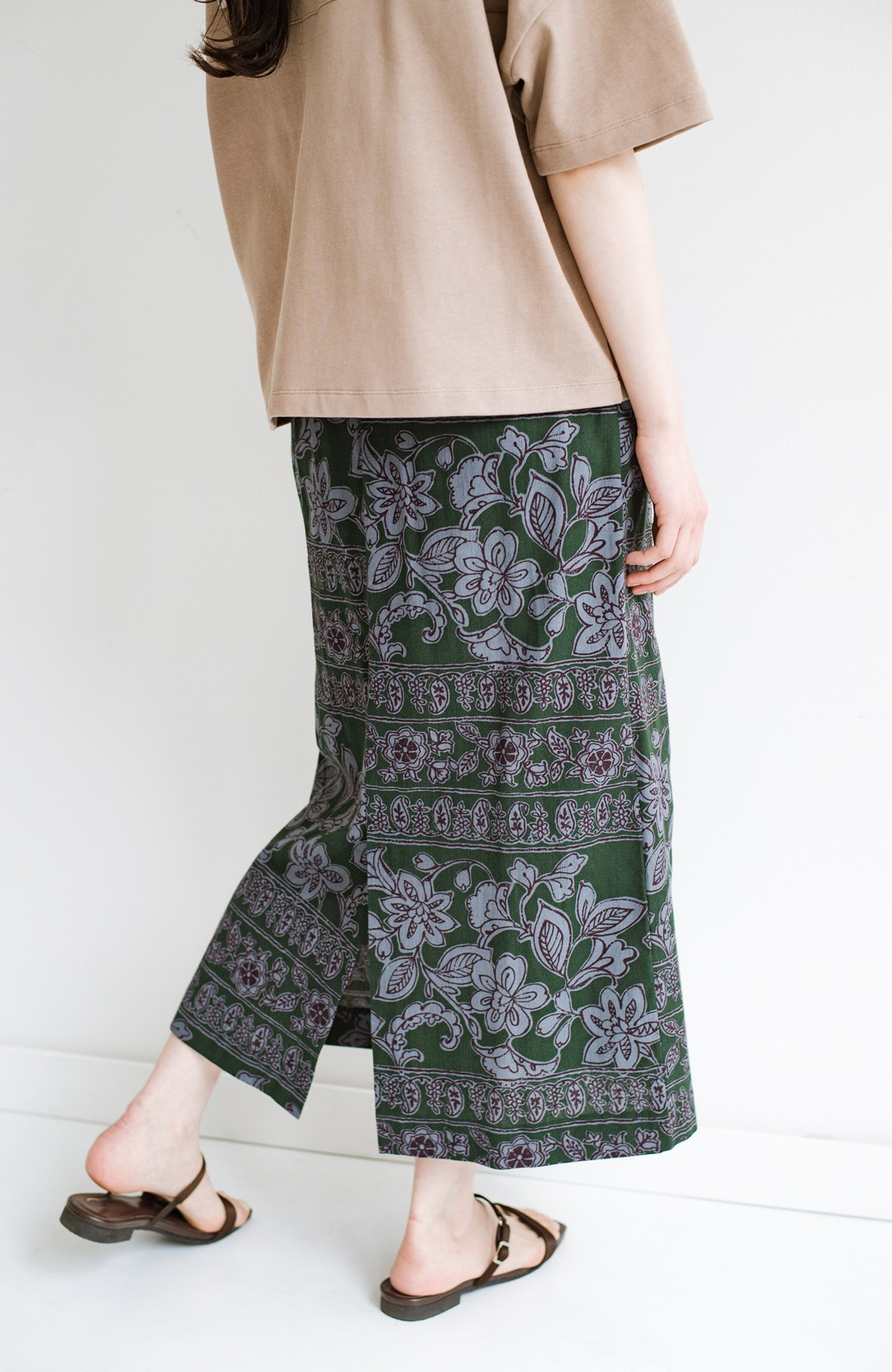 haco! 京都の浴衣屋さんと作った浴衣生地のセミタイトスカート <グリーン系その他>の商品写真8