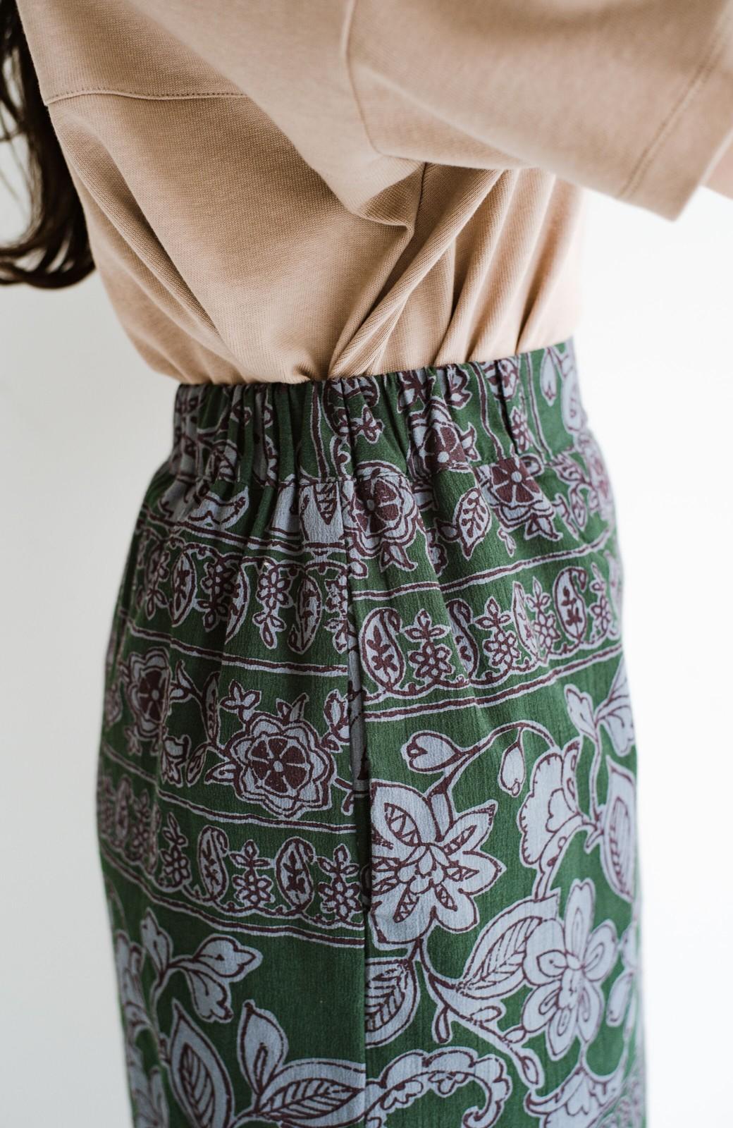haco! 京都の浴衣屋さんと作った浴衣生地のセミタイトスカート <グリーン系その他>の商品写真10