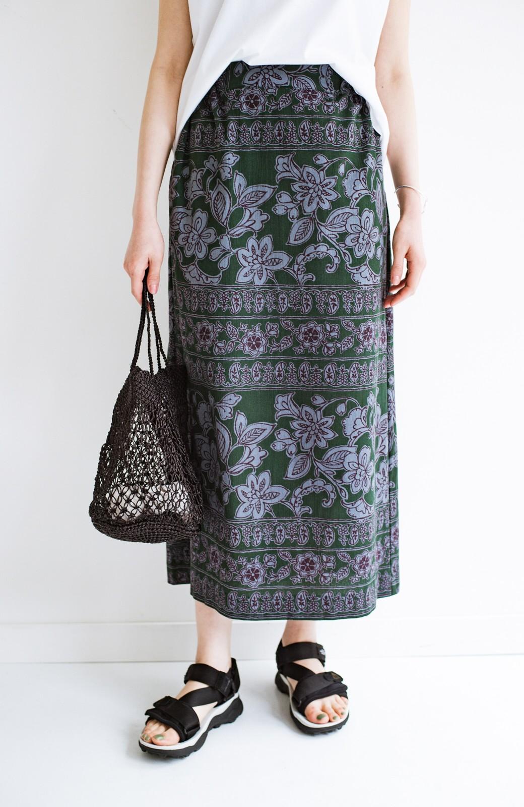 haco! 京都の浴衣屋さんと作った浴衣生地のセミタイトスカート <グリーン系その他>の商品写真1