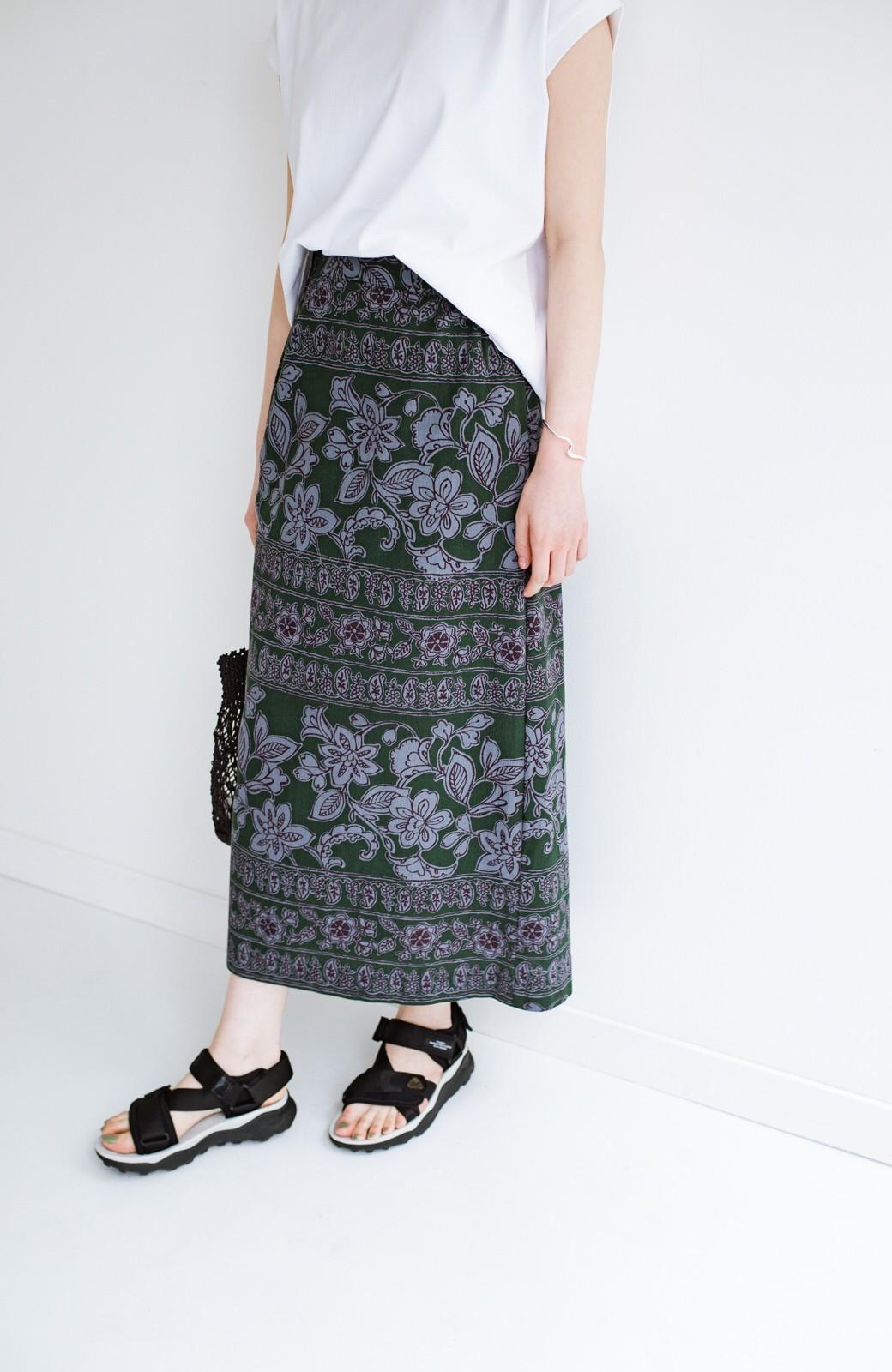 haco! 京都の浴衣屋さんと作った浴衣生地のセミタイトスカート <グリーン系その他>の商品写真12