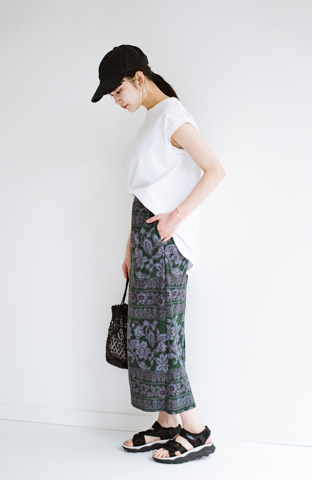 haco! 京都の浴衣屋さんと作った浴衣生地のセミタイトスカート <グリーン系その他>の商品写真15