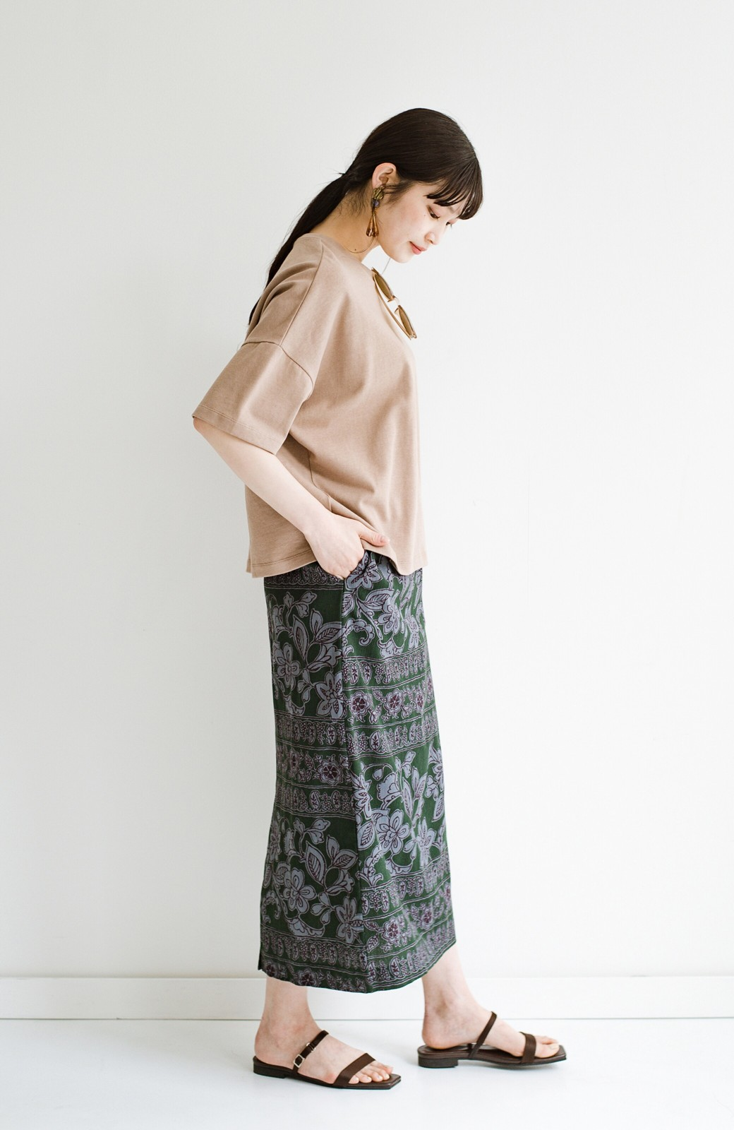 haco! 京都の浴衣屋さんと作った浴衣生地のセミタイトスカート <グリーン系その他>の商品写真17