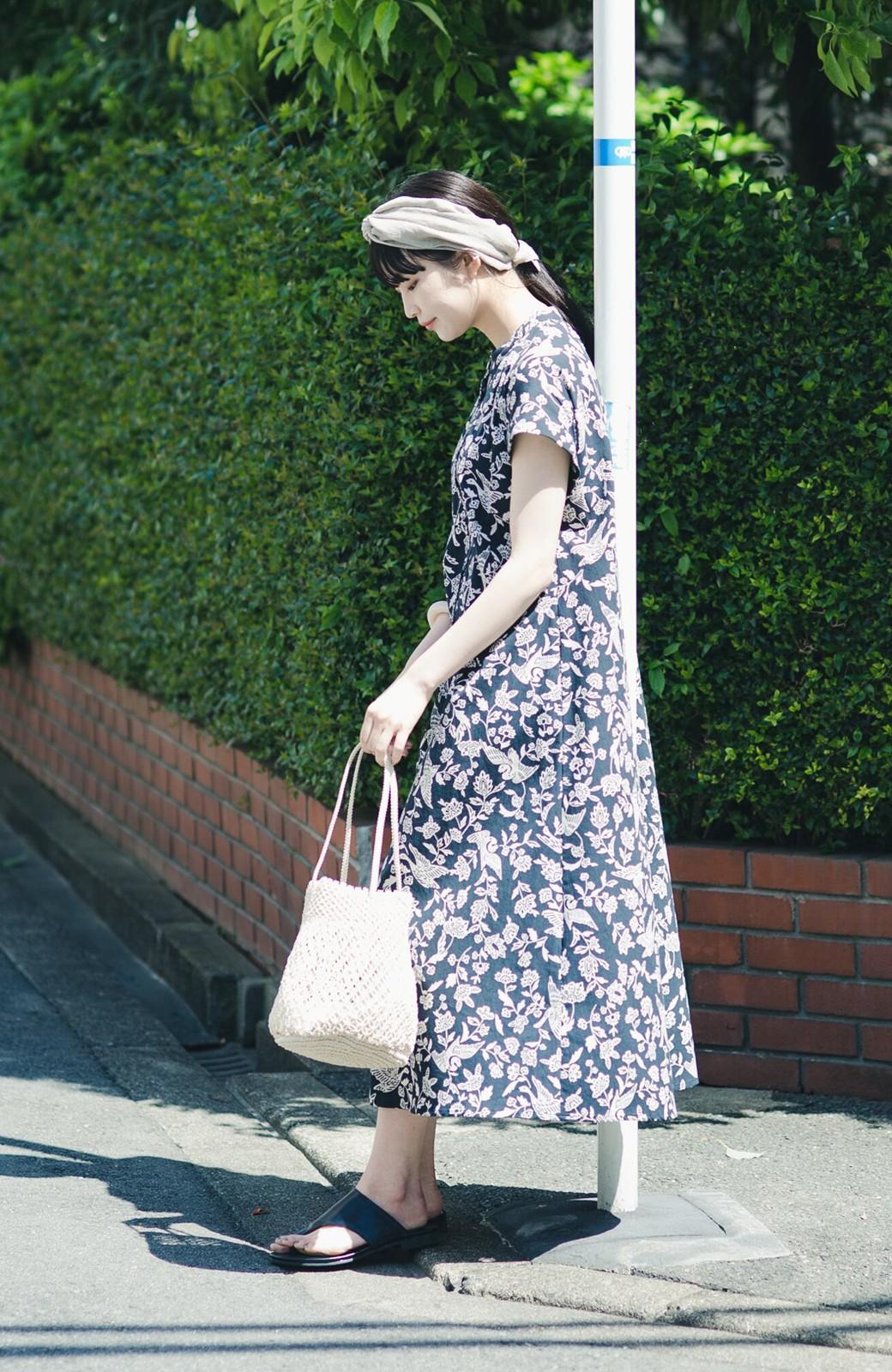 haco! 京都の浴衣屋さんと作った浴衣生地の羽織ってもかわいいロングワンピース <ブラック系その他>の商品写真10
