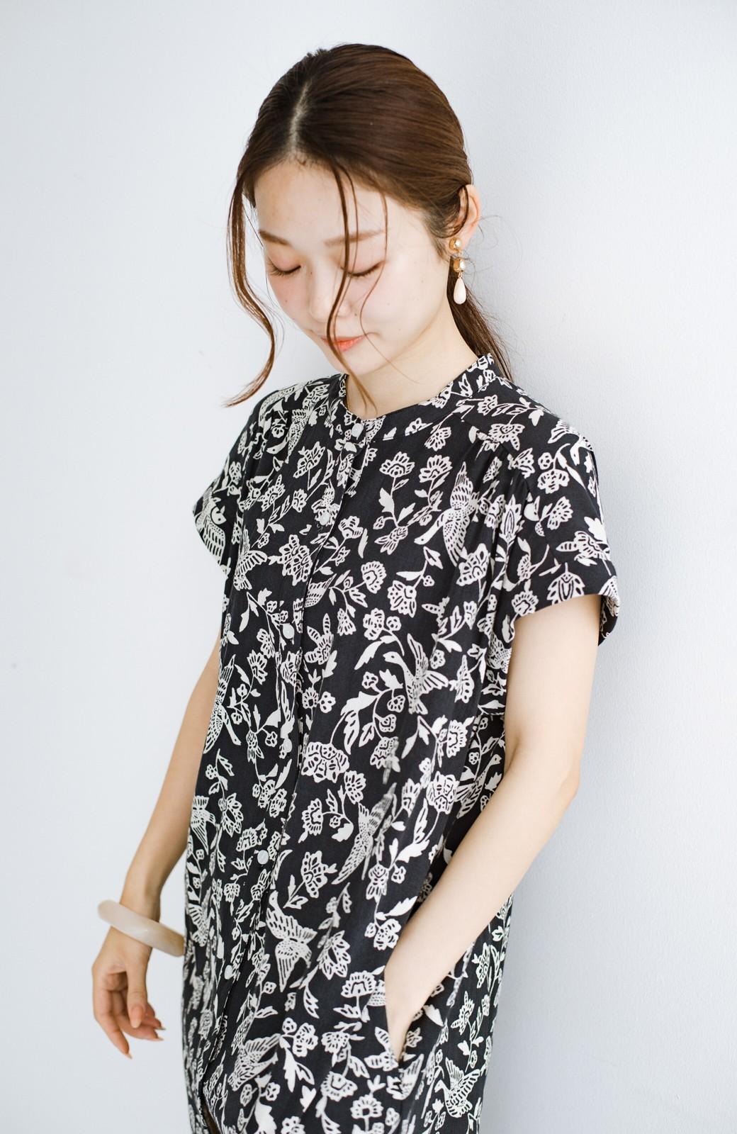 haco! 京都の浴衣屋さんと作った浴衣生地の羽織ってもかわいいロングワンピース <ブラック系その他>の商品写真5