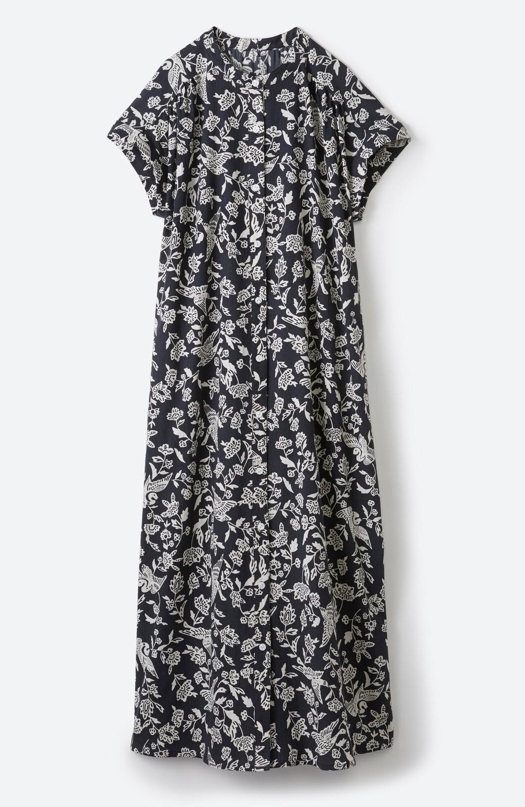haco! 京都の浴衣屋さんと作った浴衣生地の羽織ってもかわいいロングワンピース <ブラック系その他>の商品写真24