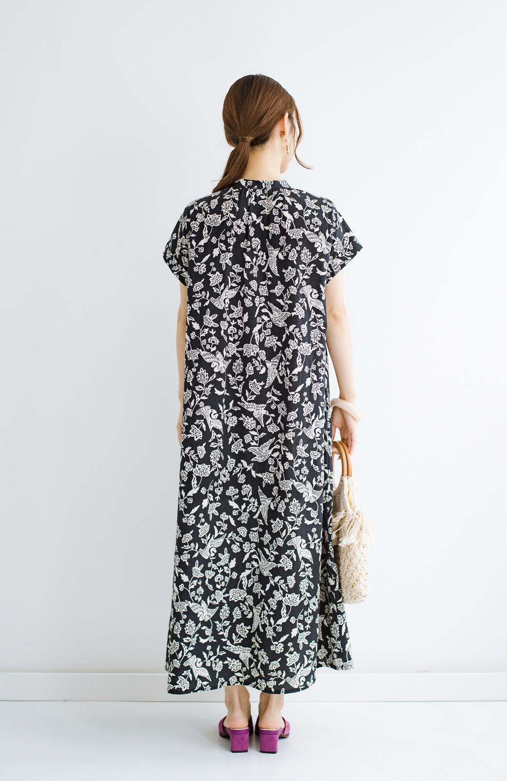 haco! 京都の浴衣屋さんと作った浴衣生地の羽織ってもかわいいロングワンピース <ブラック系その他>の商品写真20