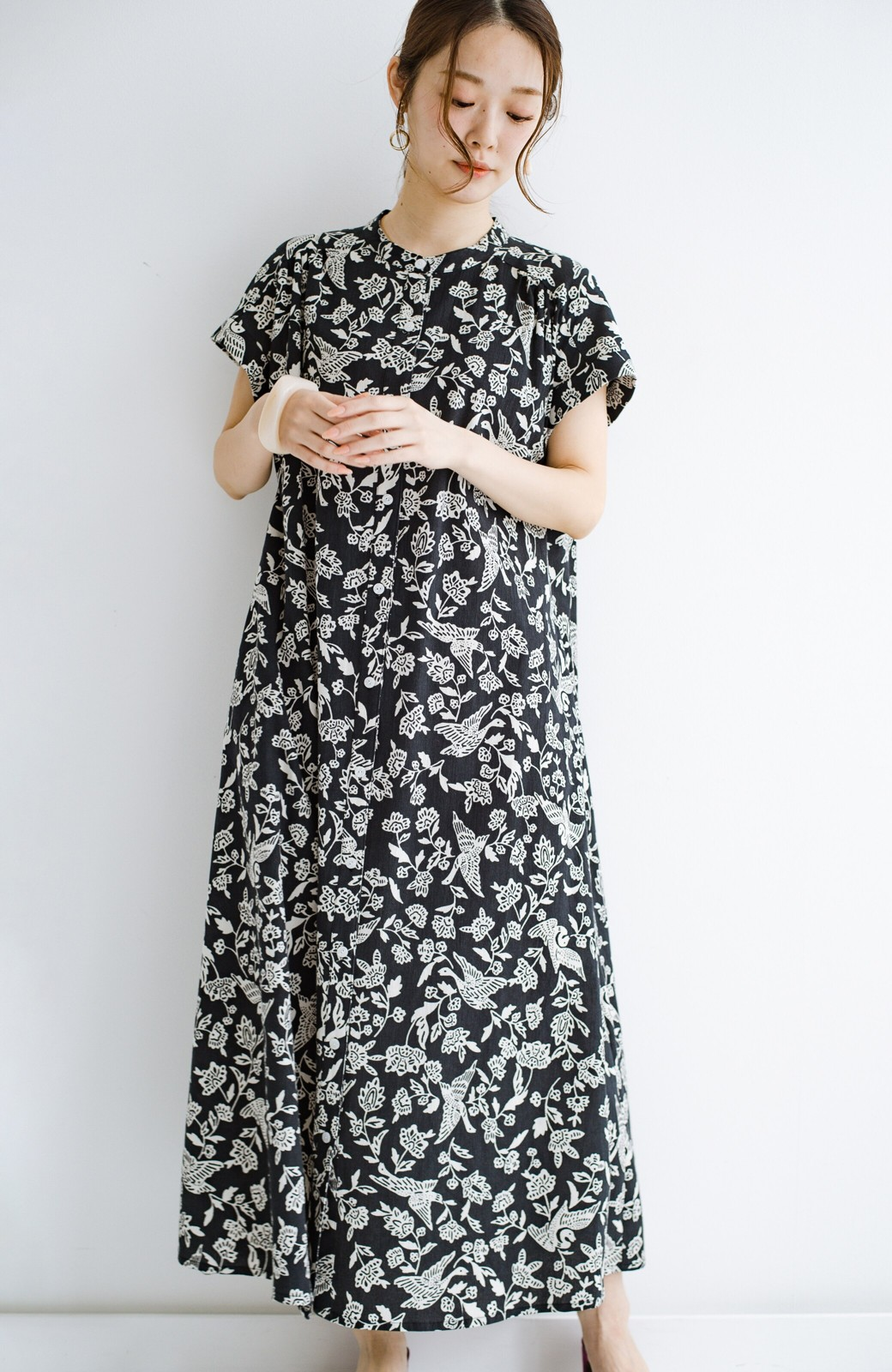 haco! 京都の浴衣屋さんと作った浴衣生地の羽織ってもかわいいロングワンピース <ブラック系その他>の商品写真21