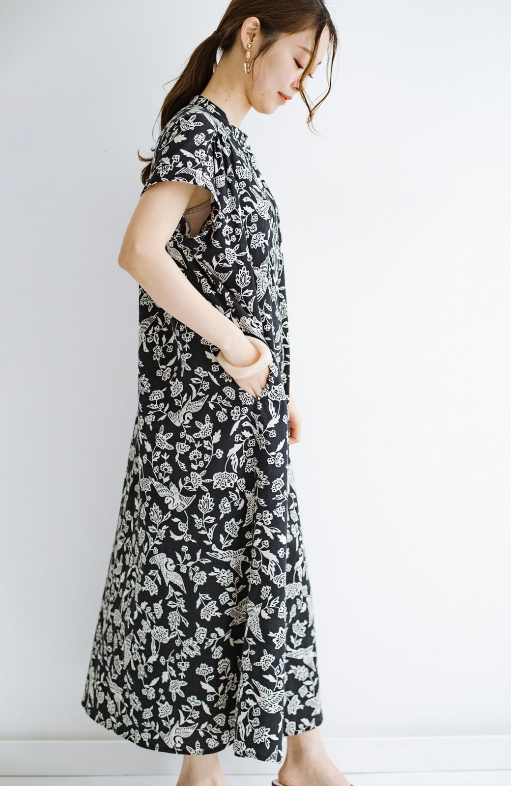 haco! 京都の浴衣屋さんと作った浴衣生地の羽織ってもかわいいロングワンピース <ブラック系その他>の商品写真22