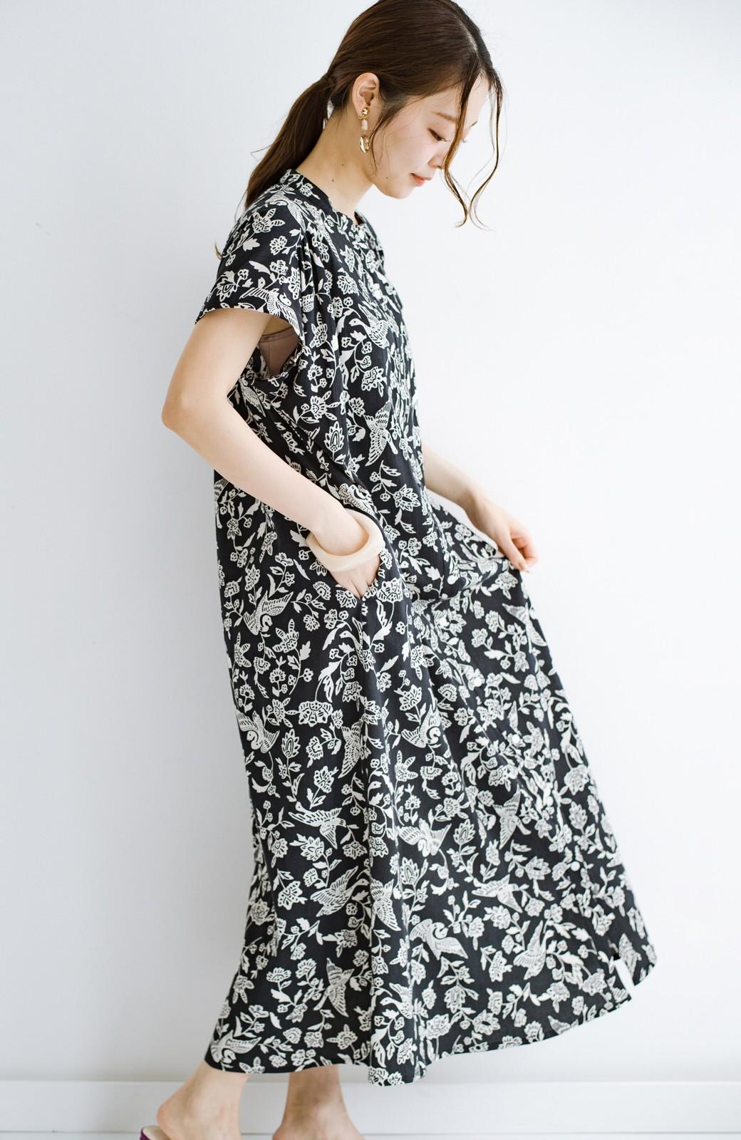 haco! 京都の浴衣屋さんと作った浴衣生地の羽織ってもかわいいロングワンピース <ブラック系その他>の商品写真23