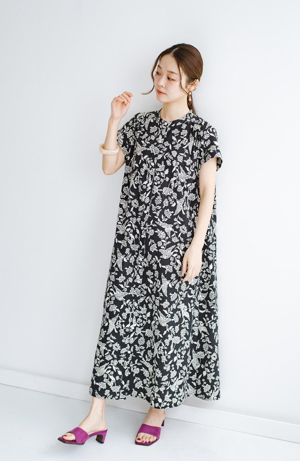haco! 京都の浴衣屋さんと作った浴衣生地の羽織ってもかわいいロングワンピース <ブラック系その他>の商品写真9