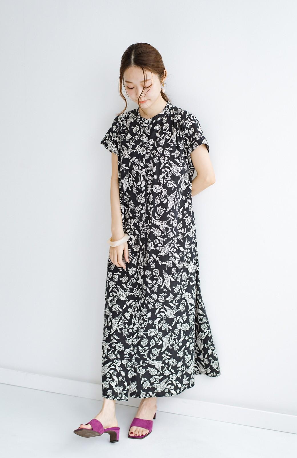 haco! 京都の浴衣屋さんと作った浴衣生地の羽織ってもかわいいロングワンピース <ブラック系その他>の商品写真12