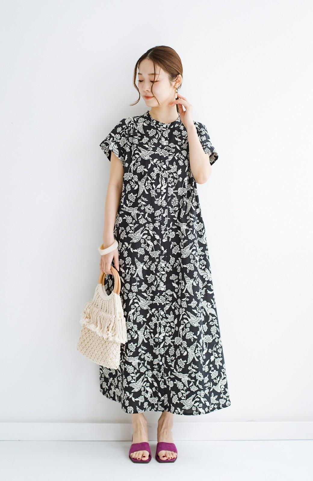 haco! 京都の浴衣屋さんと作った浴衣生地の羽織ってもかわいいロングワンピース <ブラック系その他>の商品写真13