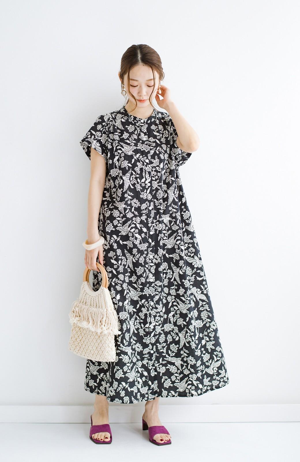 haco! 京都の浴衣屋さんと作った浴衣生地の羽織ってもかわいいロングワンピース <ブラック系その他>の商品写真14