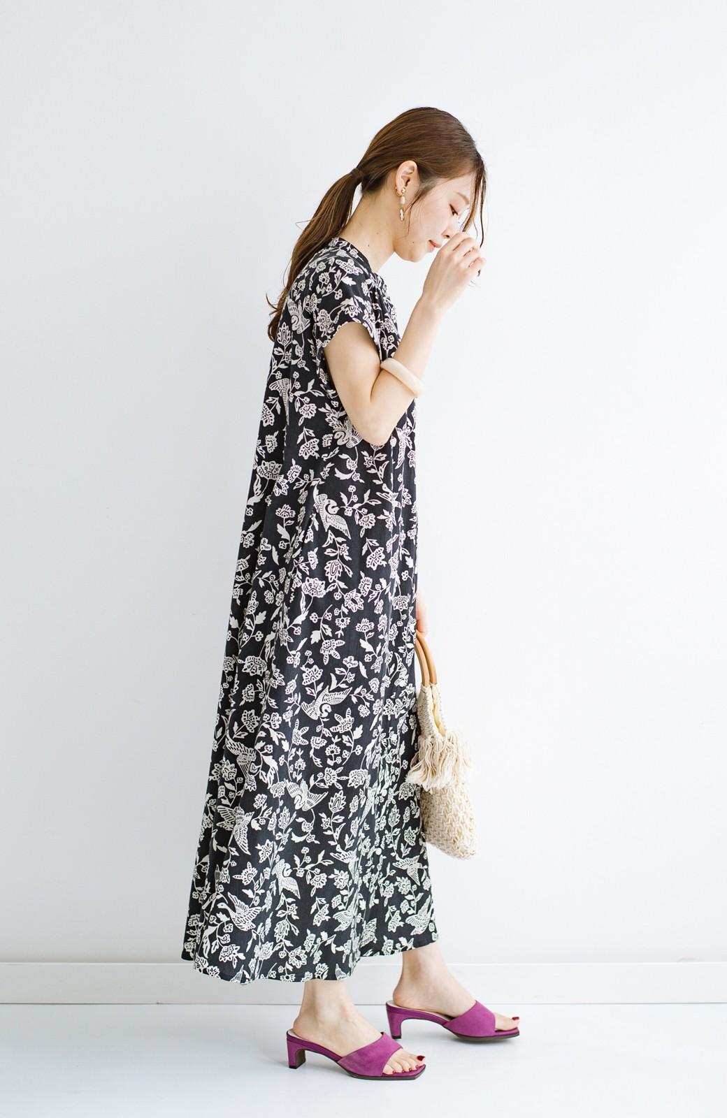 haco! 京都の浴衣屋さんと作った浴衣生地の羽織ってもかわいいロングワンピース <ブラック系その他>の商品写真17